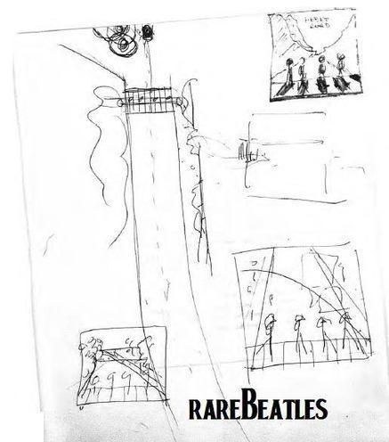 bosquejo que Paul le dibujó al fotógrafo Ian McMillan para la idea de la portada de lo que sería ABBEY ROAD. No es genial?| Facebook