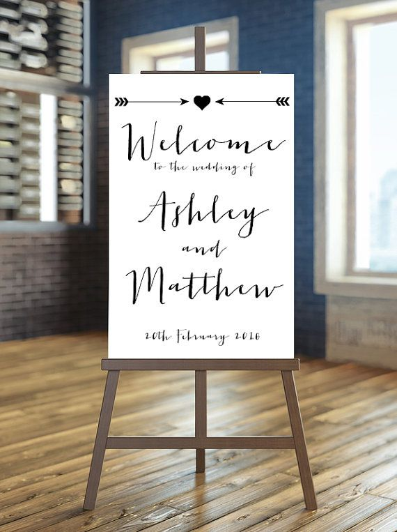 Printable Wedding Sign Welcome Wedding Sign Arrow by instanttrends