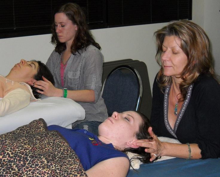 Ear Reflexology Workshop #Ear Reflexology practicing on each other #Reflexology Certificate Course http://www.americanacademyofreflexology.com