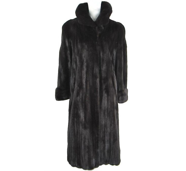 Stunning Full Length Ranch Brown Black Mink Fur Coat   From a collection of rare vintage coats and outerwear at https://www.1stdibs.com/fashion/clothing/coats-outerwear/