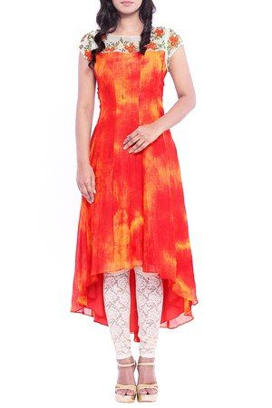 Orange High-Low Kurti With White Lace Bottoms #cotton #printed #embroidery #high-low #A-line #casual #day #brunch #lunch #mega-sleeves #round-neck