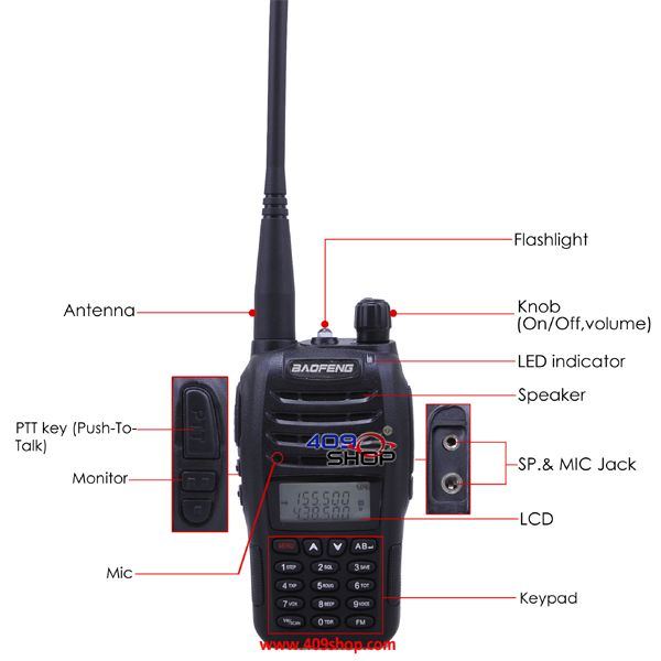 BAOFENG UV-B6 136-174/400-480Mhz MENU 27 with FM radio 409shop walkie talkie…