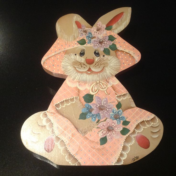 Wooden folk art - 'Bunny' by Sweetsundaycharm on Etsy
