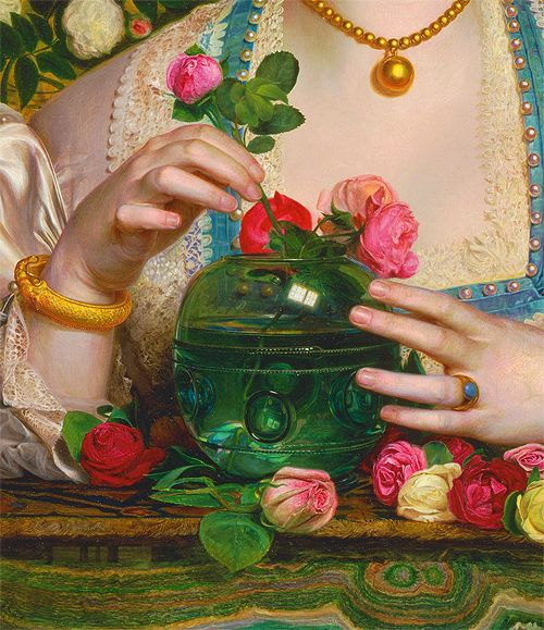 Grace Rose (detail) by Frederick Sandys (1829-1904) oil on panel, 1866 #hands…