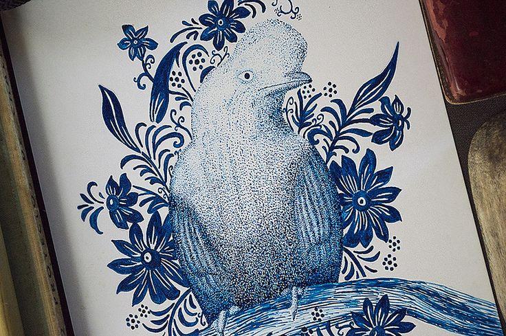 Mi primera ilustración con tinta china... experimento con el puntillismo y las formas. FACEBOOK: https://www.facebook.com/samuel.saldanaarmas.3