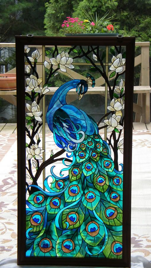 MAGNIFICENT * PEACOCK 17x37 STAINED GLASS WINDOW PANEL | eBay
