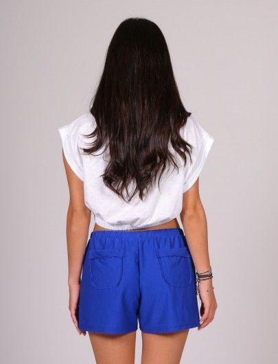 Μπλε ρουά βαμβακερό σορτσάκι με τσέπες | Mindyourstyle.gr