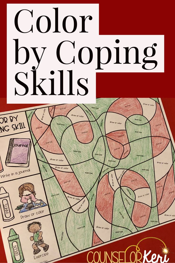 This color by coping skill activity is a great way to review coping skills with your students before the winter or Christmas holiday break. Review coping strategies that students can use when difficult situations arise over the break in this hands-on activity. Students use the coping skills key on the left side of the page to color the hidden image on the right. Includes, quick start user's guide, 4 pictures with key, and includes 15 coping skills. -Counselor Keri