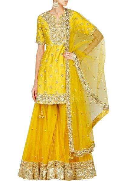 Yellow gota work short kurta and sharara pants set. #carma #carmaindia #designer #luxury #diwali #festiveseason #elegant #fun #cute #chic #preetiskapoor #cropthetop #tops #shopnow #onlineshopping #bollywoodstyle #celebritystyle #ootd #indianfashion #mushave #sale #bestbuys #yellowsharara #shararaonline #designersharara #buyshararaonline #silksharara