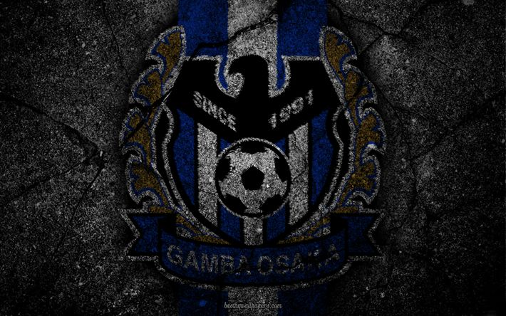 Download wallpapers Gamba Osaka, logo, art, J-League, soccer, football club, G-Osaka, asphalt texture