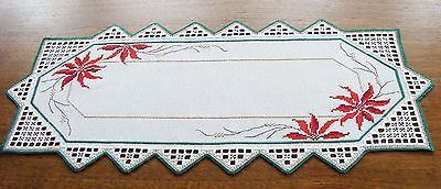 HARDANGER Embroidery - TABLE RUNNER with poinsettias -  for Christmas - handmade 3 • CAD 118.99