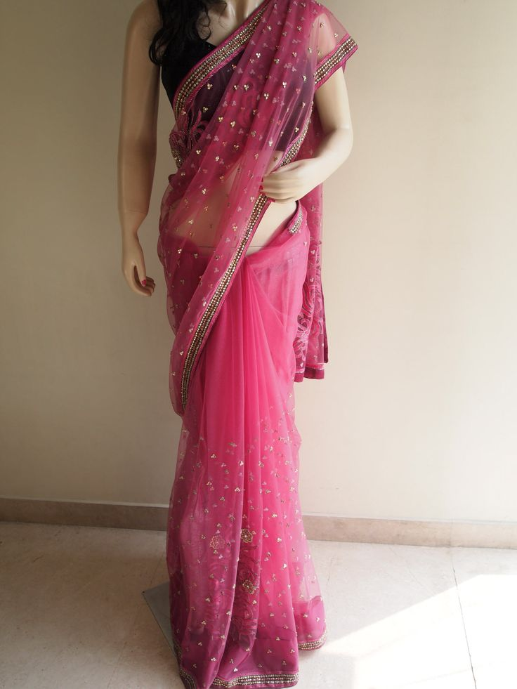Rose Pink Net Saree With Elaborate Stone Work