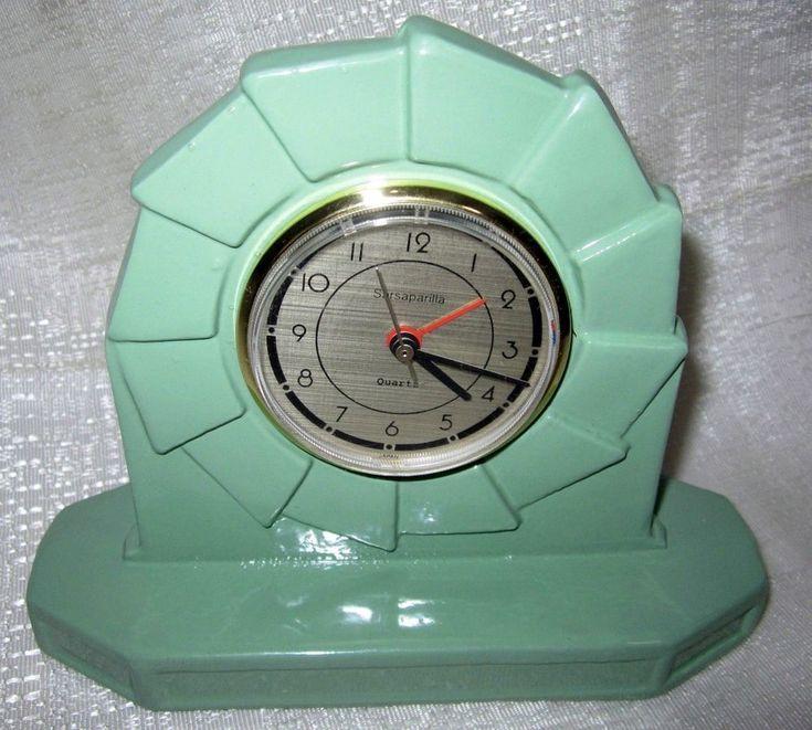 Art Deco industrial table Frankart green quartz alarm metal clock made in USA  | eBay