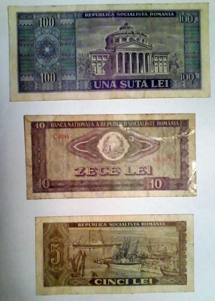 Romania Lot Of 3  100 Lei,10 Lei,5 Lei of 1966 Bancnote Circulated Era Ceausescu