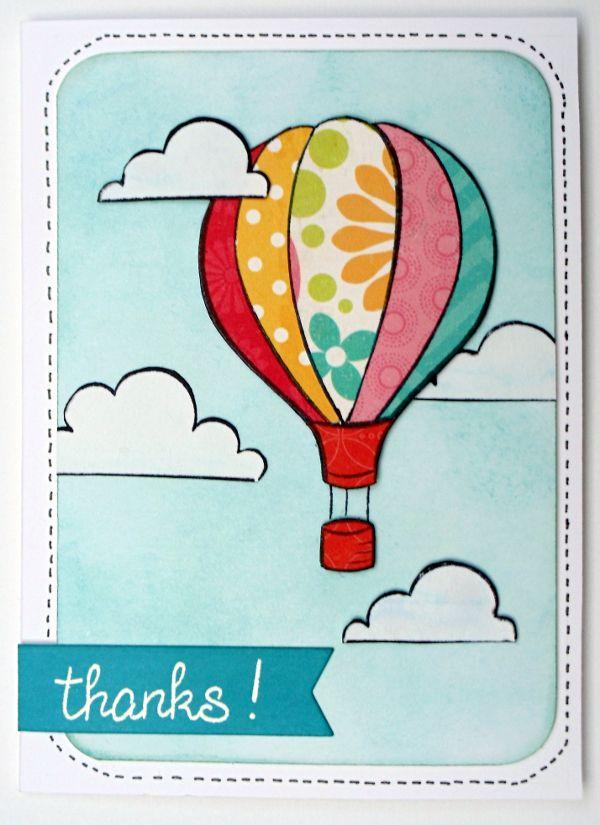 """Ein schnelles Dankeskärtchen. Wolken und der Ballon sind aus dem Lawn Fawn Stempelset """"Blue Skies"""""""