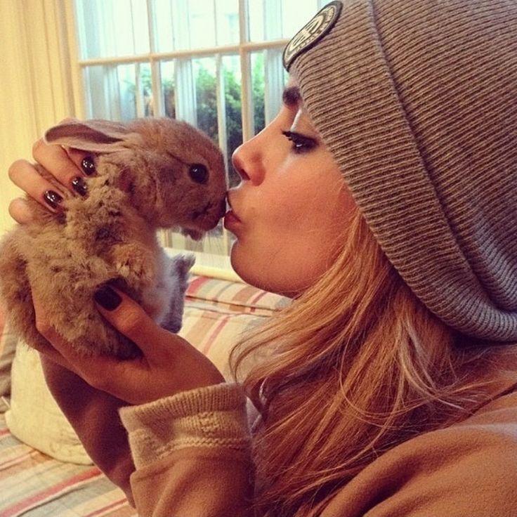 Cara Delevingne and her new bunny, Cecil Delevingne