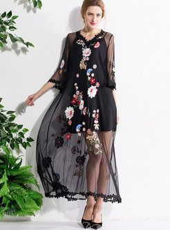 Sexy V-neck Embroidery Three Quarters Sleeve Maxi Dress