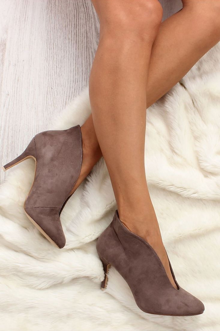 Coffee Slit Pointy Ankle Boots- High Heels Pointed Ankle Boots.