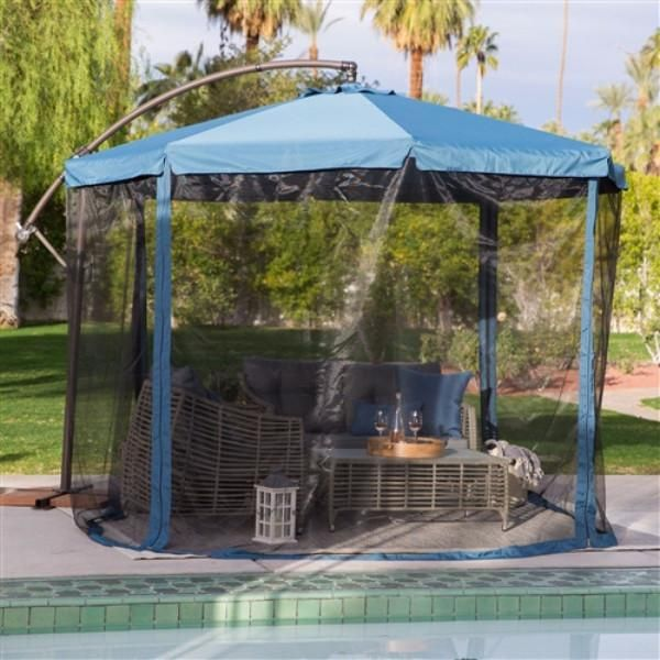 Navy 11 Patio Umbrella Gazebo W Removable Mosquito Netting Offset Patio Umbrella Patio Umbrella Outdoor Shade