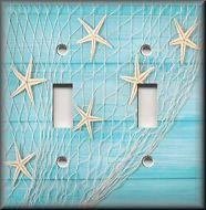 Beach Home Decor - Starfish Fishing Net Aqua Blue - Light Switch Plate Cover