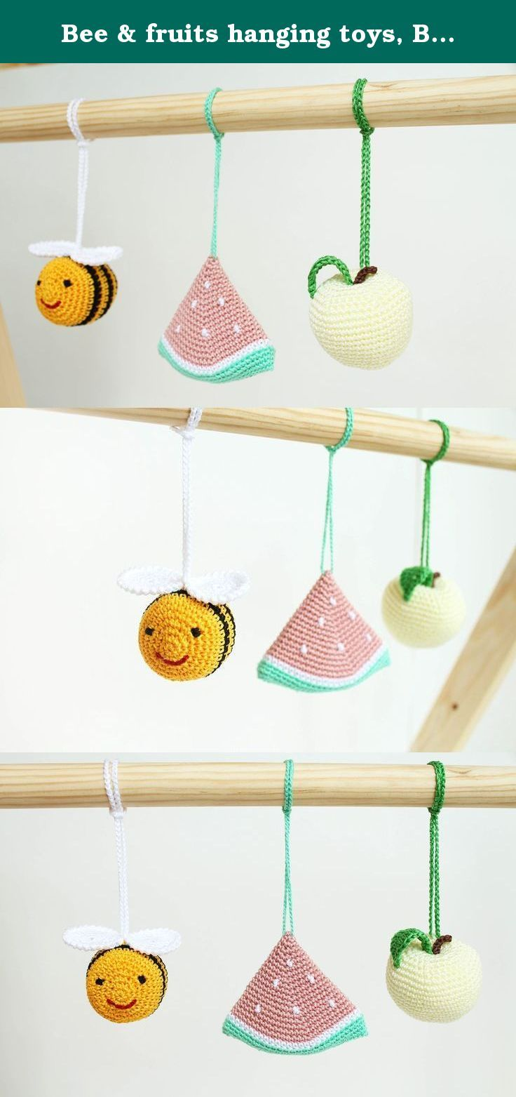 Bee & fruits hanging toys, Baby play gym toy, crib toy, Baby Rattle, nursery decoration, crochet, Montessori. This set of baby gym toys is made to entertain your baby and encourage important development skills. Your baby will get so much joy from the sensations, sounds and visual delights these fruits give. ♥ Two colorful fruits (an apple, a slice of watermelon) and a flying bee will capture your baby's attention. ♥ The items are handcrafted with pleasant sounding small bells inside…