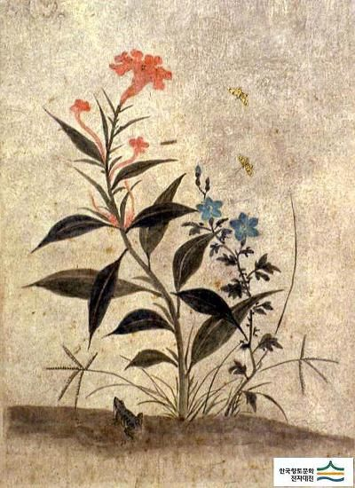 (Korea) Folding Screens by Lady Shin Saimdang (1504- 1551). 48.6×35.9cm. ca 16th century CE. colors on paper. Ojukheon Museum.