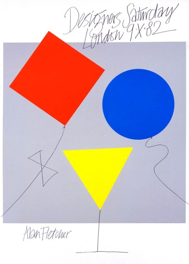 Alan Fletcher, Designers Saturday 1982 the 3 shapes each takes a role and work together. The placement of 3 colours are also planned very well, among warm and cool. Overall, this design has an asymmetrical balance to it- [Uyen N.]