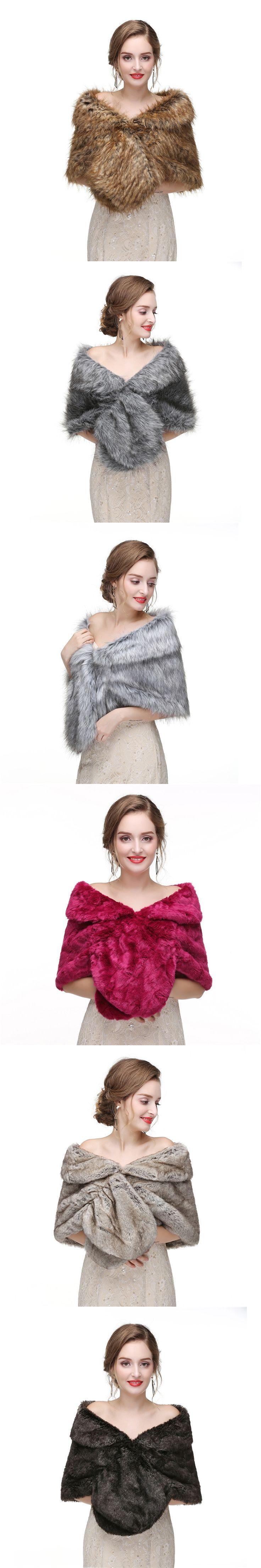 H&S BRIDAL Bolero Women Bridal Faux Fur For Wedding Evening Party Prom Jacket Coat Winter Fur Shawl Wedding Boleros