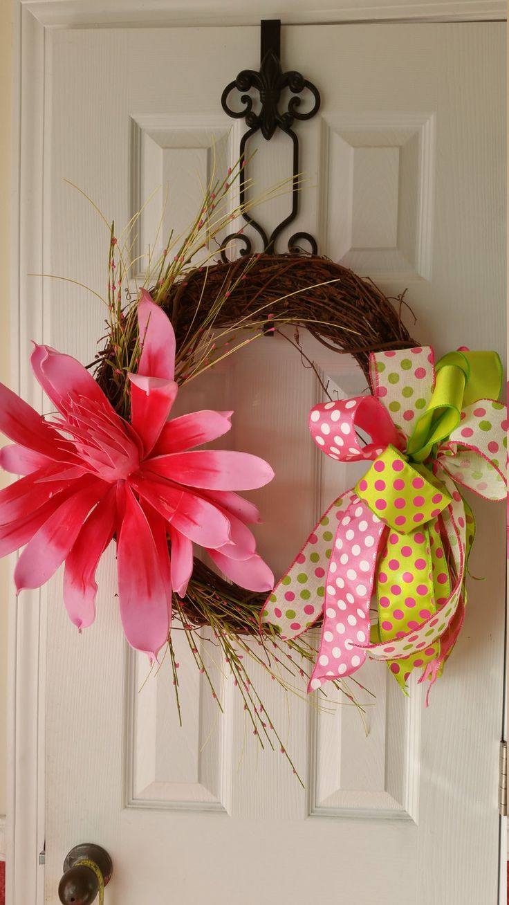 Spring Grapevine Wreath by WreathsBowsandThings on Etsy