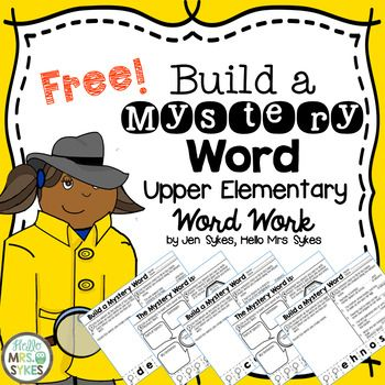 FREE - Word work for Big Kids - Build a Mystery Word! Need a challenging and engaging way to keep your Upper Elementary students working on words? The 3 Build A Mystery Word sheets in this free set are a great way to get your students actively manipulating letters to create new words. Remember, Upper Elementary kiddos still need access to manipulatives, particularly when exploring the patterns letters use in the English language.