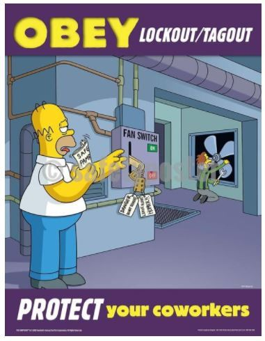 Obey Lockout Tagout Simpsons Safety Posters Safety