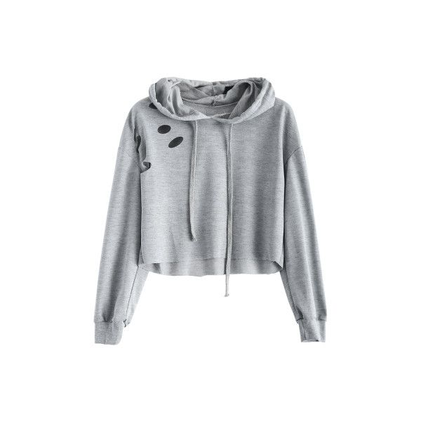 Polka Dot Cut Out Cropped Short Hoodie (£15) ❤ liked on Polyvore featuring tops, cutout tops, dot top, short crop tops, polka dot top and cut-out crop tops