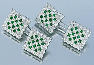 Pair Of Chessboard Squared Gold Emerald & Diamond Cufflinks