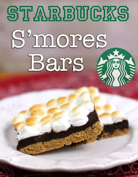 Make s'mores right in the oven and cut them into bars.. EXACTLY like the ones they serve at Starbucks. And there is a secret recipe that makes the bottom crust hold together!  What a perfect summer treat