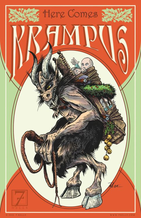 "artagainstsociety:  "" ""Here Comes Krampus"" by 7 Hells: Retro Horror Art Of Bill Rude  """