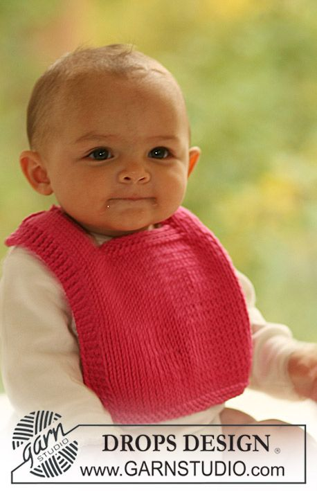 "Knitted DROPS bib in ""Paris"". ~ DROPS Design"