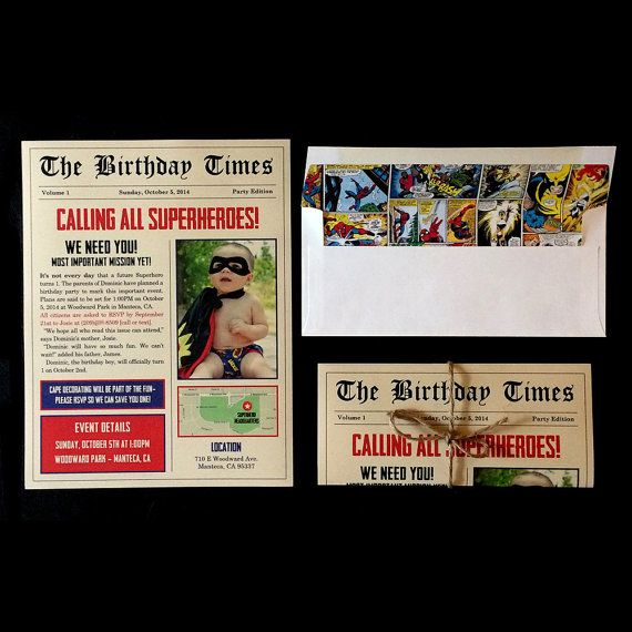 Extra! Extra! This newspaper inspired invitation is perfect for your little heros party! This special edition is completely customizable and