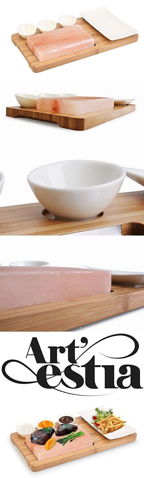 Artestia Himalayan Salt Slab with Stainless Steel Tray, Bamboo Platter and Ceramic Side Dish / Sauce Bowls, Deluxe Tabletop Barbecue / BBQ / Hibachi / Steak Grill