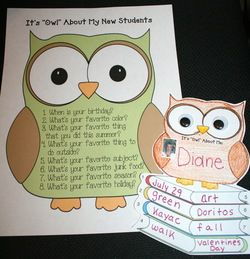 """Owl activities: FREE """"It's 'Owl' About Me!"""" writing prompt craftivity.  Completed projects make an adorable bulletin board."""