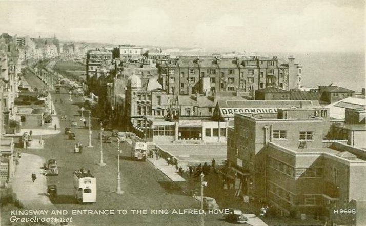 Hove seafront - the King Alfred, on the right - every week at Hove Manor school we had swimming lessons there. Also note the white open-top buses they used to ply the route between Rottingdean and Hove Lagoon.