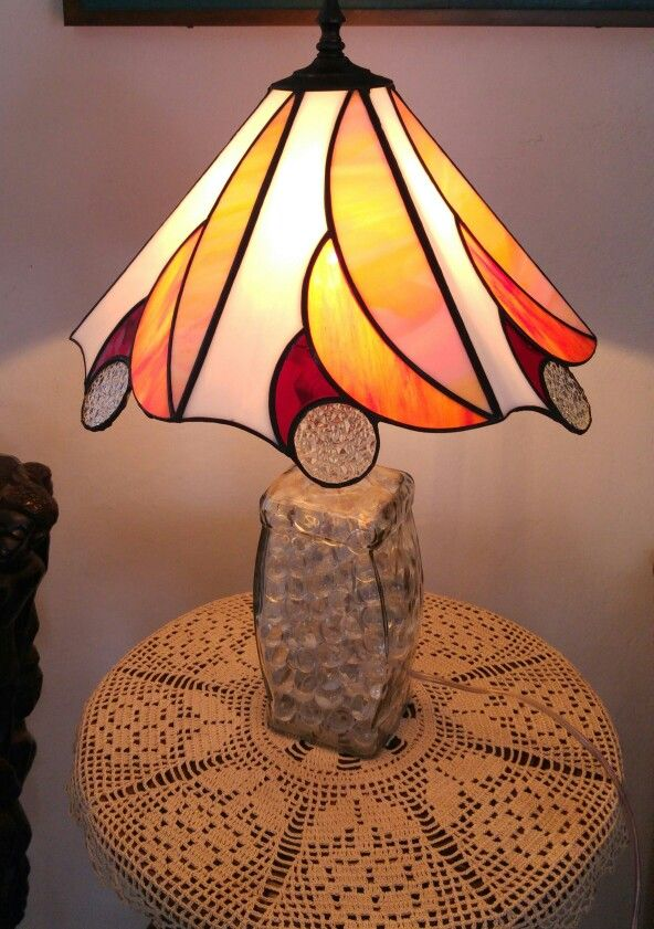 Stained Glass Lamp Shade And Old Liquor Bottle With Marbles. Made By  Creative Glass Works