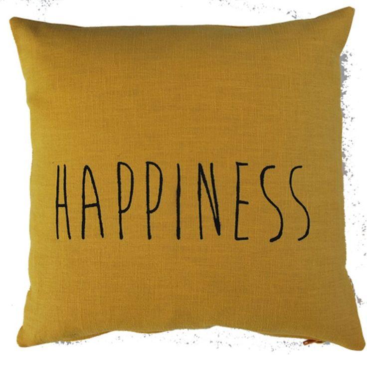 Coussin carré en lin moutarde sérigraphié main happiness noir Pom