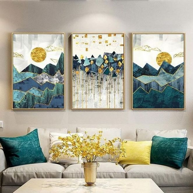 32 How To Choose Teal Art Deco Living Room Homesdecoring Wall Art Canvas Painting Geometric Wall Art Landscape Wall Art