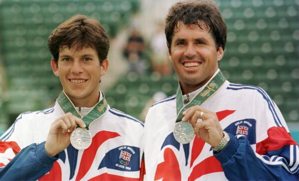 Tim Henman and Neil Broad of Great Britain, with their silver medals after the men's tennis doubles at the 1996 Olympic Games in Atlanta.