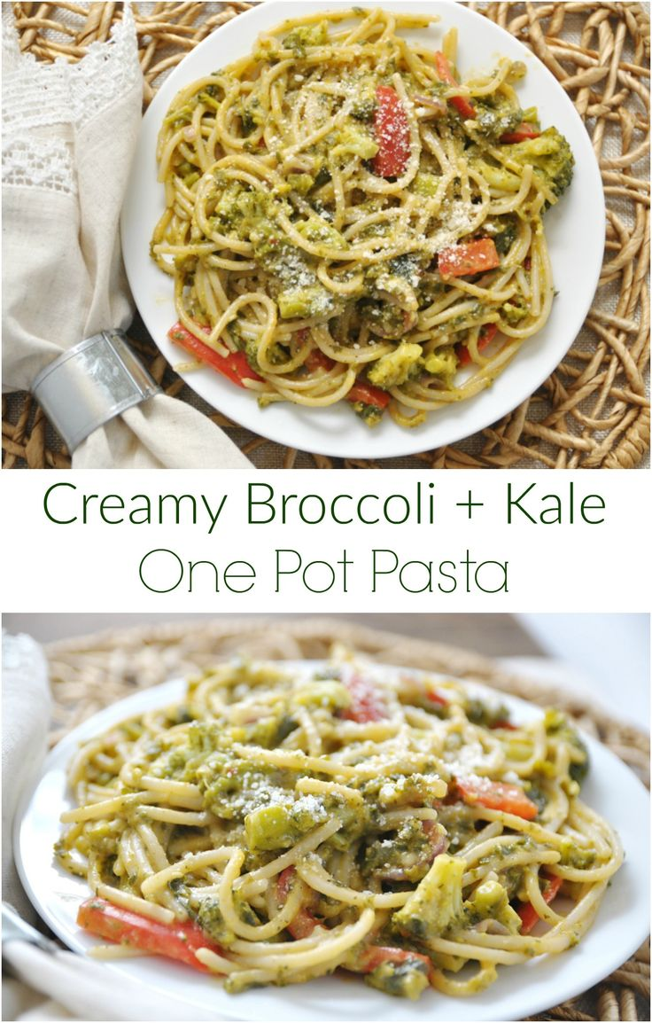 Creamy Borccoli Kale One Pot Pasta. One pot. No hassle.