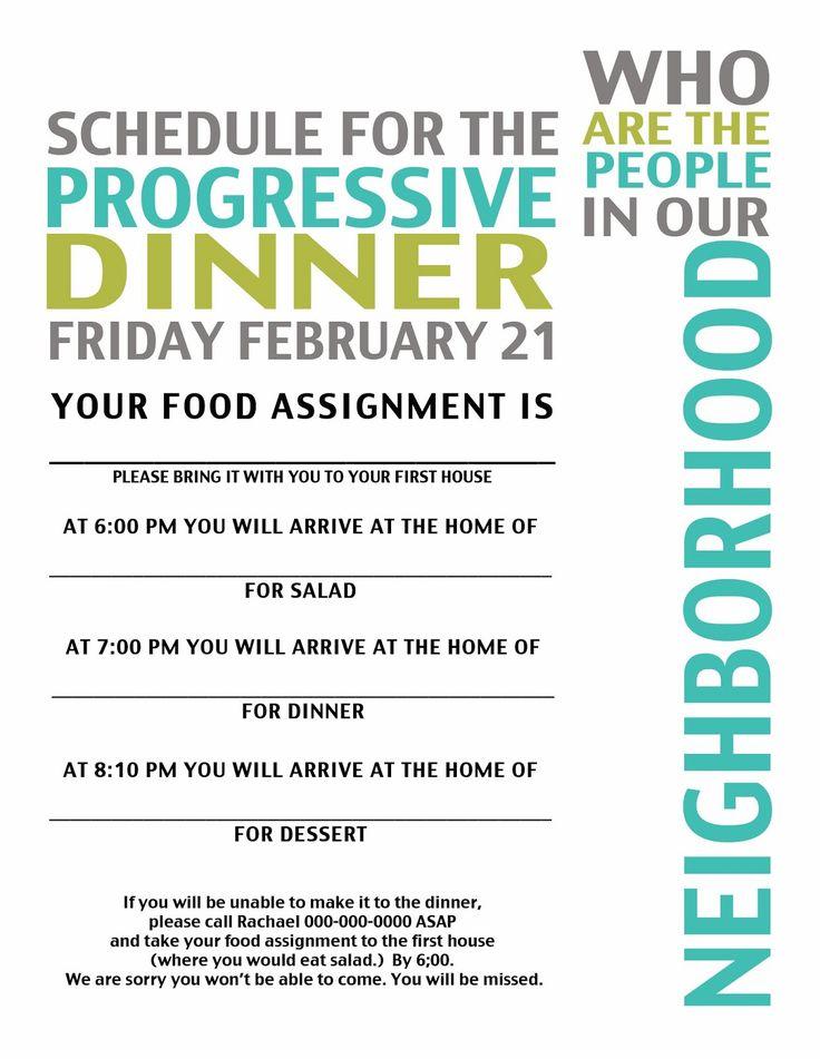 Ward, Neighborhood Progressive Dinner Activity