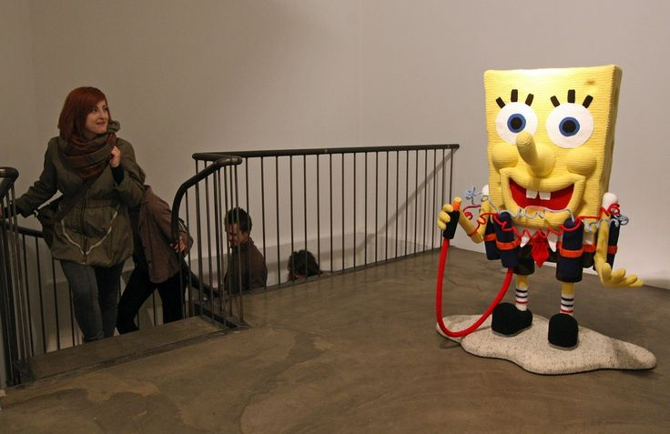 """The knitted sculpture """"Spongebob"""" by Patricia Waller1"""