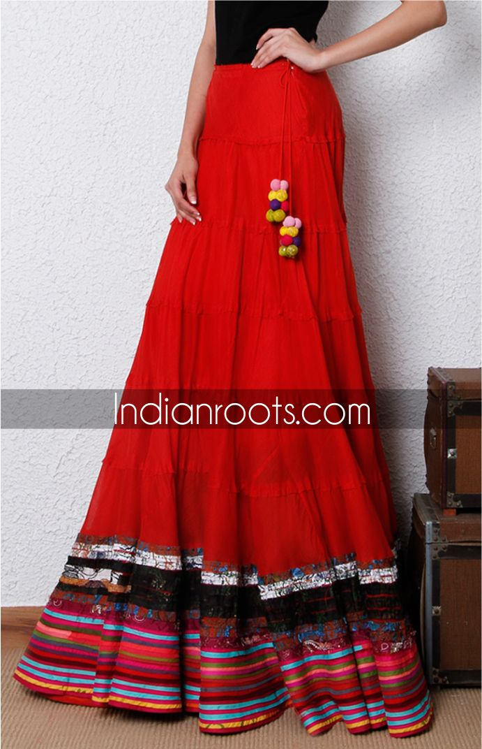 Red cotton layered floor length skirt by Ravage on Indianroots.com