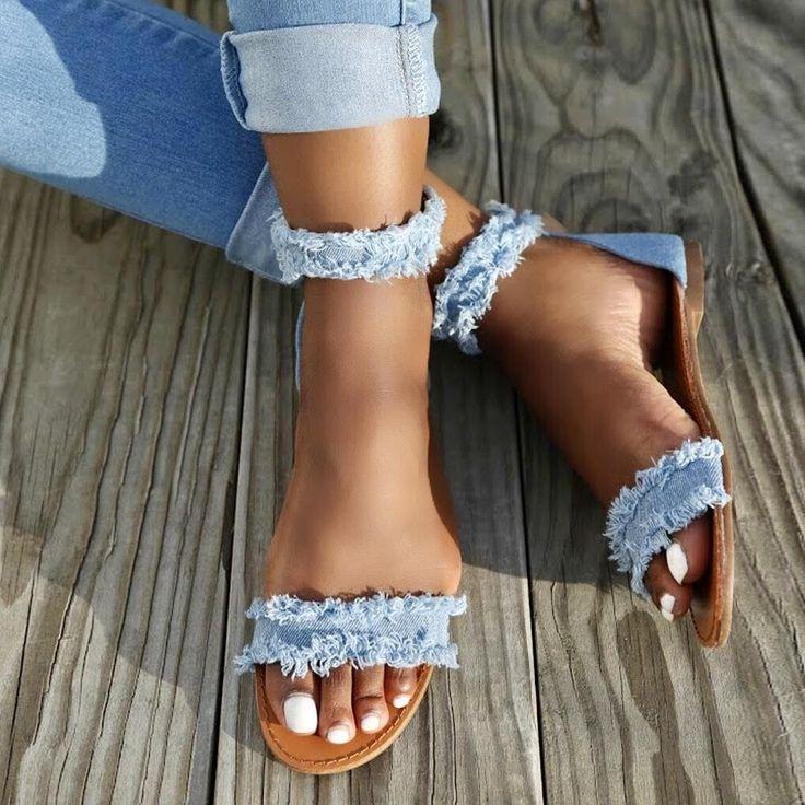 Denim sandals