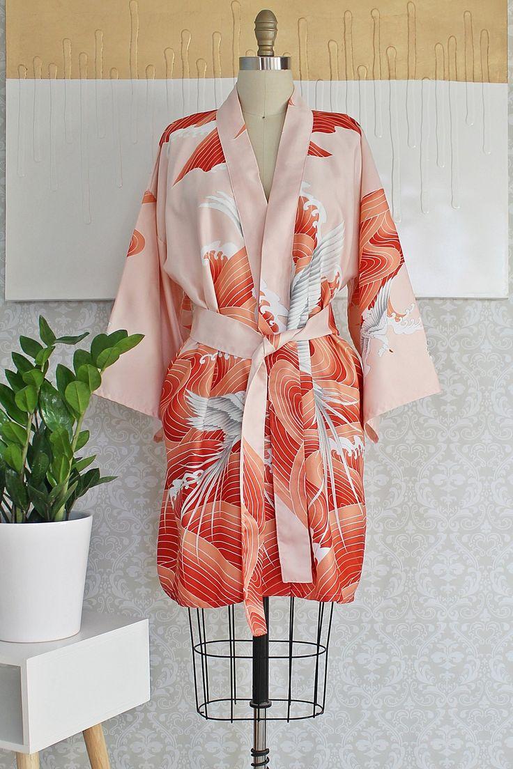Vintage 1970s Birds Of Paradise + Japanese Kimono Robe